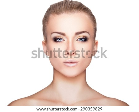 Beautiful Blond Woman Portrait on White Background. Face Beauty