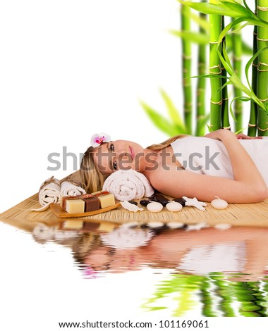 Beautiful blond woman relaxing, concept of spa - stock photo