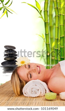 Beautiful blond woman relaxing, concept of wellness and spa - stock photo