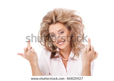Beautiful blond woman showing middle finger, scrooge you, fuck you - stock photo