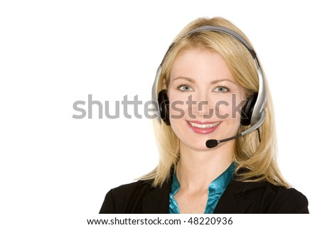 beautiful blond woman wearing headset on white background