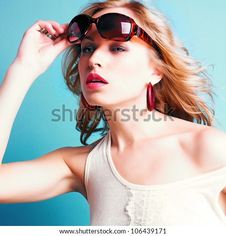 beautiful blond woman with sunglasses - stock photo