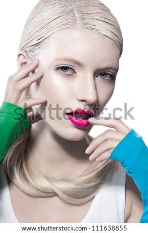 beautiful blond women coquets whith red lips and color dress sexy looking on white background - stock photo