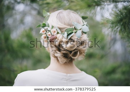 Beautiful blonde bride's hairstyle,back view - stock photo