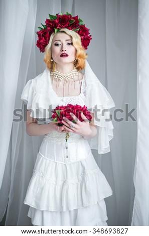 Beautiful Blonde Bride Dark Red Lipstick Stock Photo (Royalty Free ...