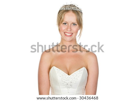 Beautiful Blonde Bride with White Copyspace - stock photo