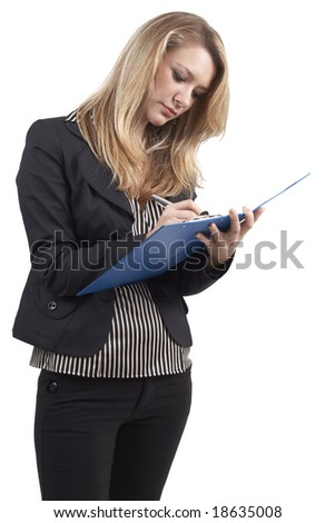 Beautiful blonde businesswoman wearing office clothes writing notes in the clipboard. Isolated on white background
