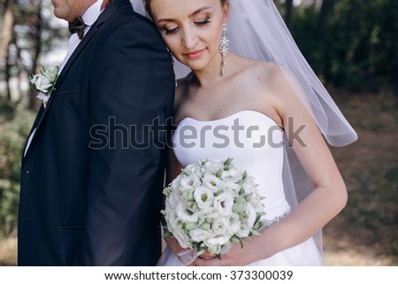 beautiful blonde couple  their  wedding day
