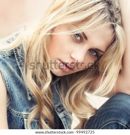 beautiful blonde face close-up - stock photo