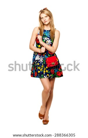 Beautiful Blonde fashion model - stock photo