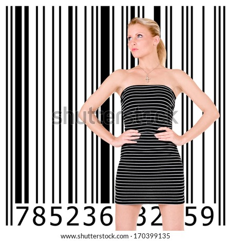 Beautiful blonde girl and bar code - stock photo