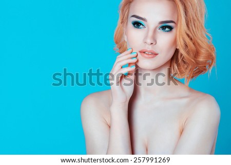 Beautiful Blonde Girl. Attractive Young Model. Sexy Lips. Curly Blonde Hair - stock photo