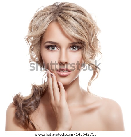 Beautiful Blonde Girl. Healthy Long Curly Hair.  - stock photo