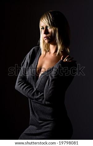 Beautiful Blonde Girl in Grey Dress - stock photo