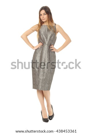 Beautiful blonde girl in sexy  dress isolated on white