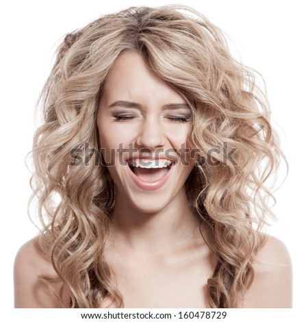 Beautiful Blonde Girl Scream - stock photo