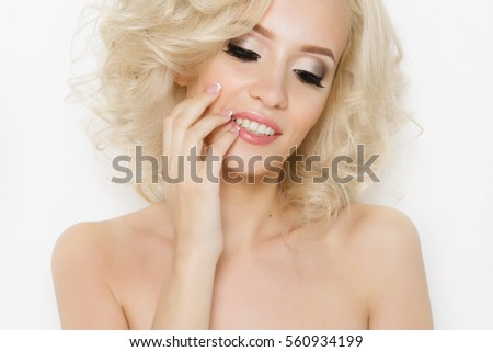Beautiful blonde girl with stacking, permanent eyebrows and lips, professional makeup