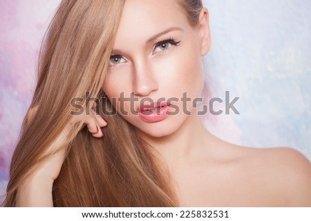 Beautiful blonde hair, portrait of an young girl - stock photo