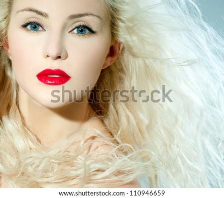 beautiful blonde, heavily made up red lipstick - stock photo