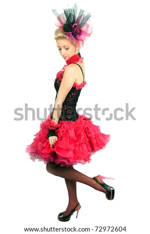 beautiful blonde in a black and pink dress gorgeous - stock photo