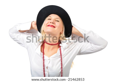 Beautiful blonde in black hat and red bead - stock photo