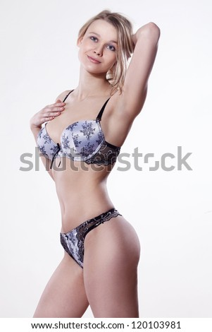 beautiful blonde in lingerie - stock photo