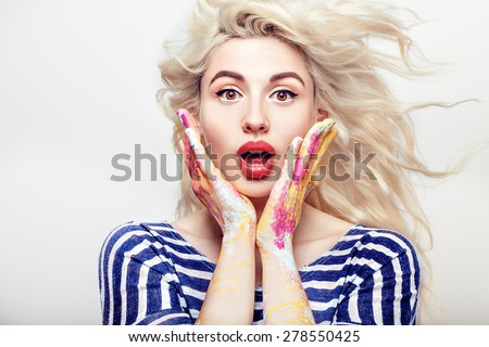 beautiful blonde positive woman showing emotions, isolated