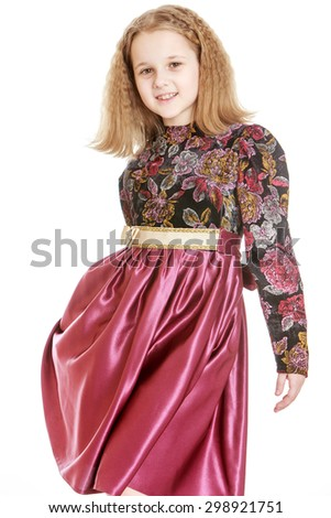 Beautiful blonde Russian girl with short hair in fashion long satin dress, close-up-Isolated on white background - stock photo