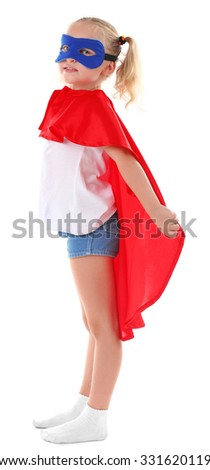 Beautiful blonde superhero little girl poses in studio  isolated on white background - stock photo