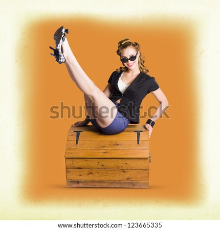 Beautiful Blonde Vintage Pinup Fashion Model Lifting Long Legs To Display Trendy Retro Shoes - stock photo