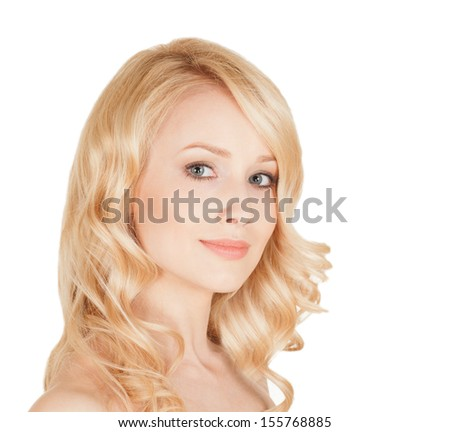 beautiful blonde with an ideal face - stock photo