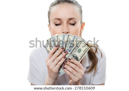beautiful blonde with money in hand