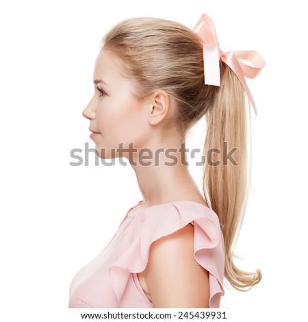 Beautiful blonde woman. Fashion portrait. - stock photo