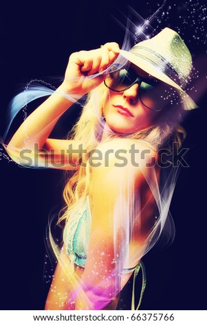 Beautiful blonde woman partying - stock photo