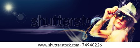 Beautiful blonde woman partying on black background (banner) - stock photo