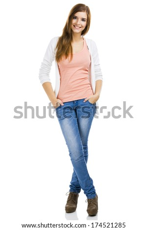 Beautiful blonde woman standing over a white background and smiling - stock photo