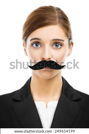 Beautiful blonde woman with a fake moustache - stock photo