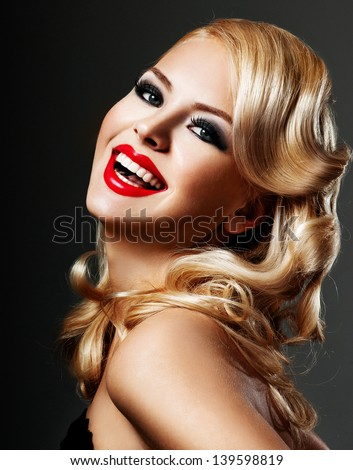 beautiful blonde  woman with bright red lipstick - stock photo