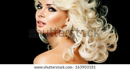 beautiful blonde woman  with perfect curly hair - stock photo