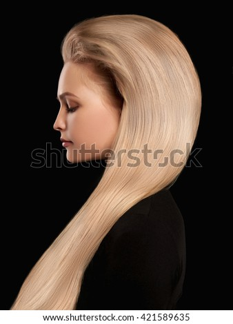 beautiful blonde wonderful hair.girl with Blond Hair over back background - stock photo