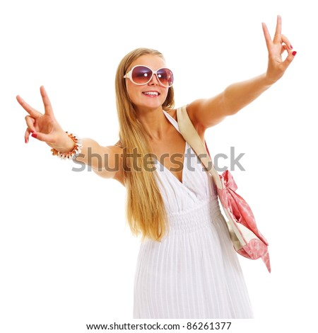 Beautiful blonde young woman in sundress and sunglasses on holiday standing and showing victory symbol isolated on white background. Mask included - stock photo