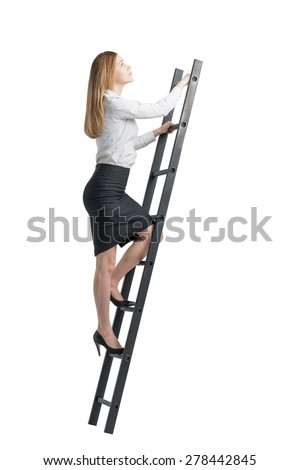 Beautiful blonde young woman is climbing up on the ladder. Isolated on white background. - stock photo