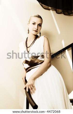 Beautiful blong girl's portrait - stock photo