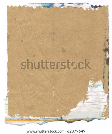 Beautiful blue and white paint splatters on classic brown paper- Great for textures and backgrounds for your projects! - stock photo