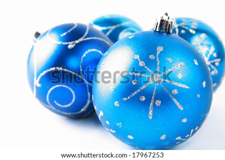 Beautiful blue ball against the white background - stock photo