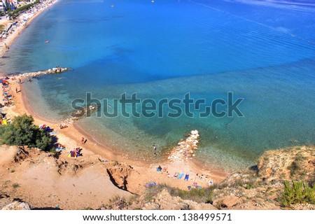 Beautiful blue Baska bay beach aerial view, Island of Krk, Croatia - stock photo