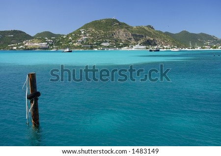 Beautiful blue caribbean bay - stock photo