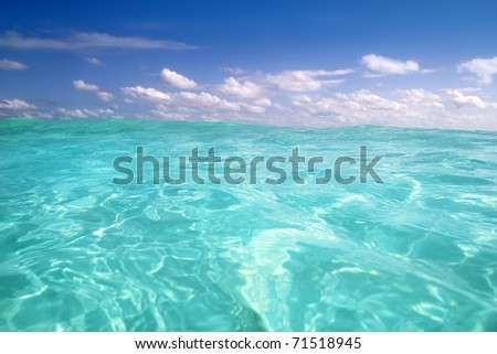 beautiful blue caribbean sea water wave horizon - stock photo