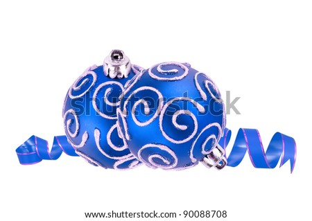 beautiful blue Christmas balls isolated on white