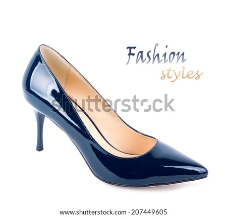 Beautiful blue classic women shoes isolated on white background